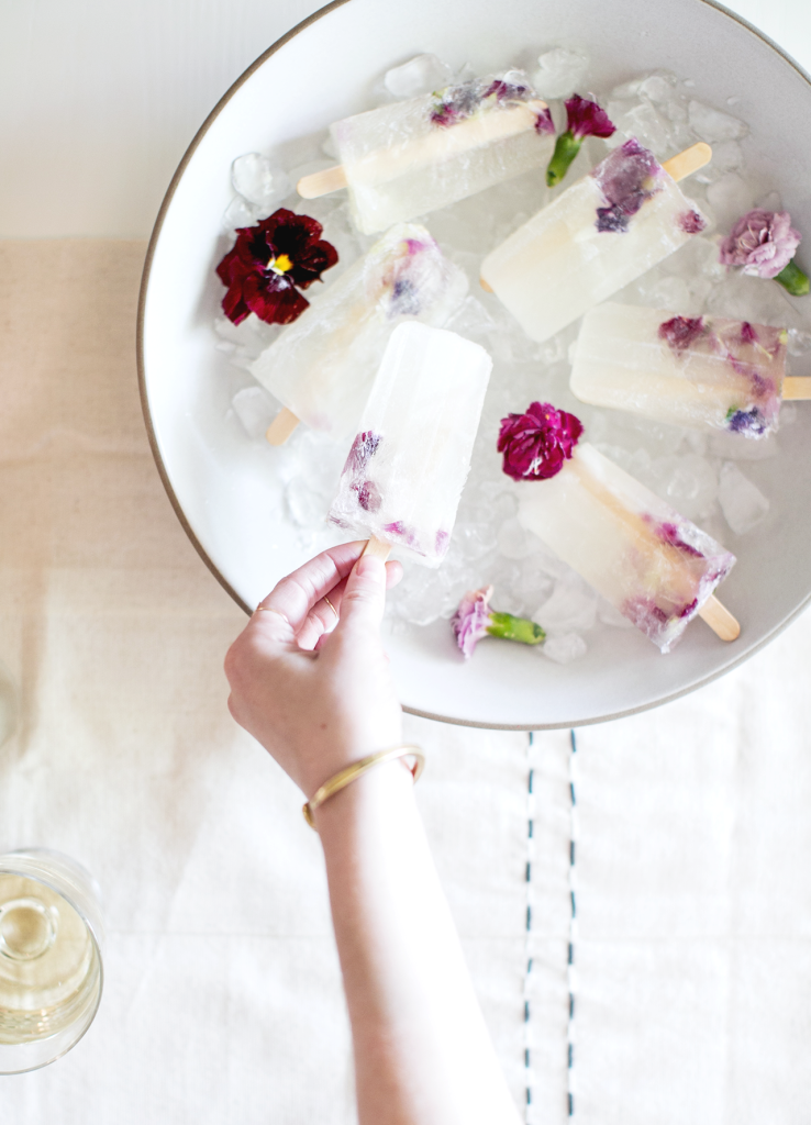 Winesicles with Edible Flowers