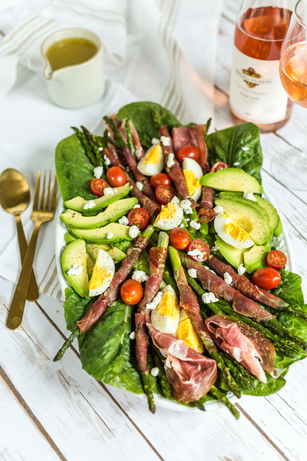 Baked Asparagus and Prosciutto Cobb Salad with Bottle of KJ Rose