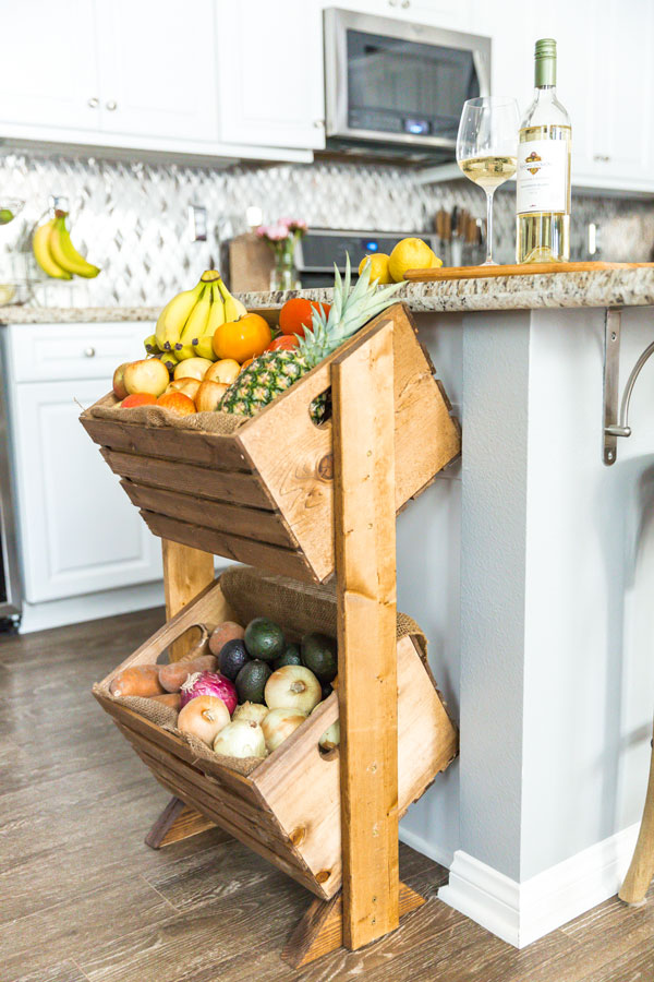 Try building this DIY two-tier produce stand to give all your fruits and vegetables a functional, stylish home right in your kitchen.