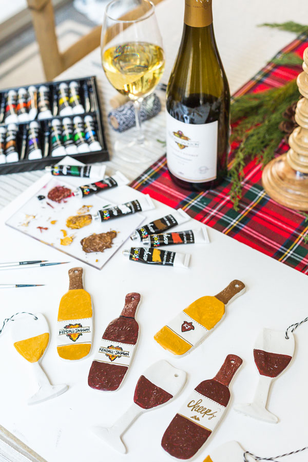 holiday clay ornaments KJ wine bottles