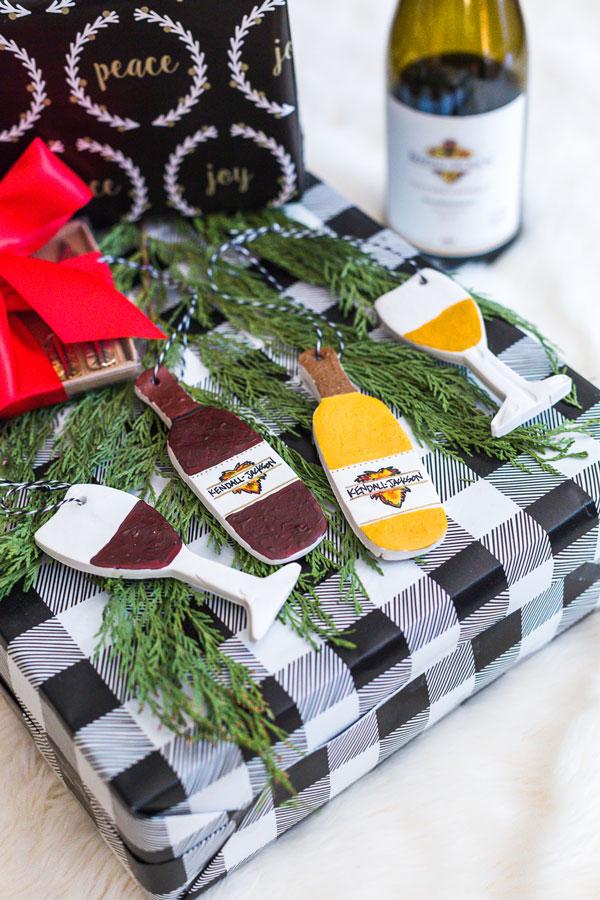 DIY holiday clay ornaments KJ wines on gift box