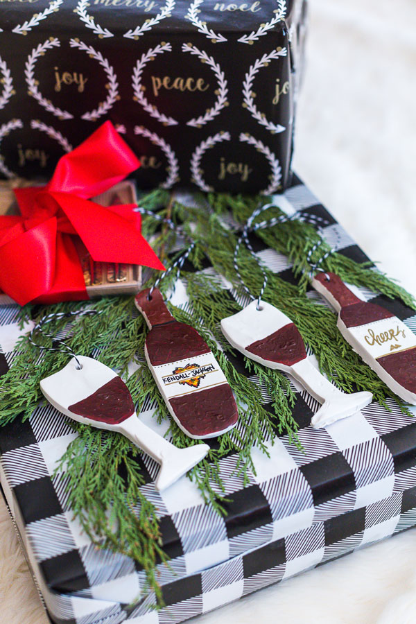 DIY holiday clay ornaments red wine on gift box