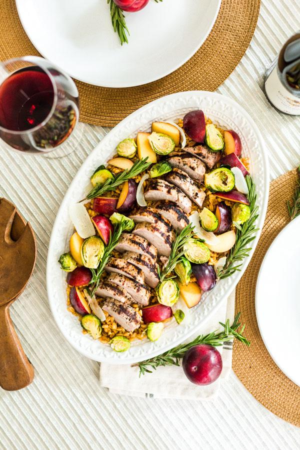 Grilled Pork Loin With Roasted Harvest Vegetables
