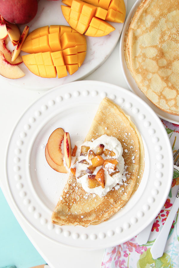 Make these Mango Peach Crepes for Mother's Day! They're simple and delicious!