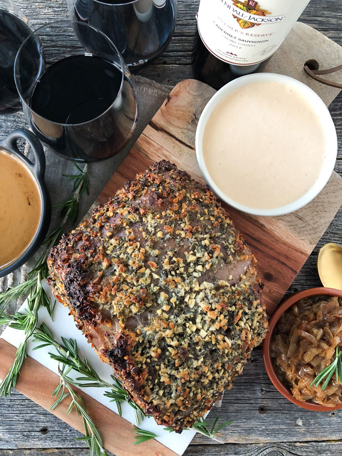 This Prime Rib with a Rosemary Garlic Butter Rub is perfect holiday dinner to serve up for your Christmas or New Years Eve celebration!
