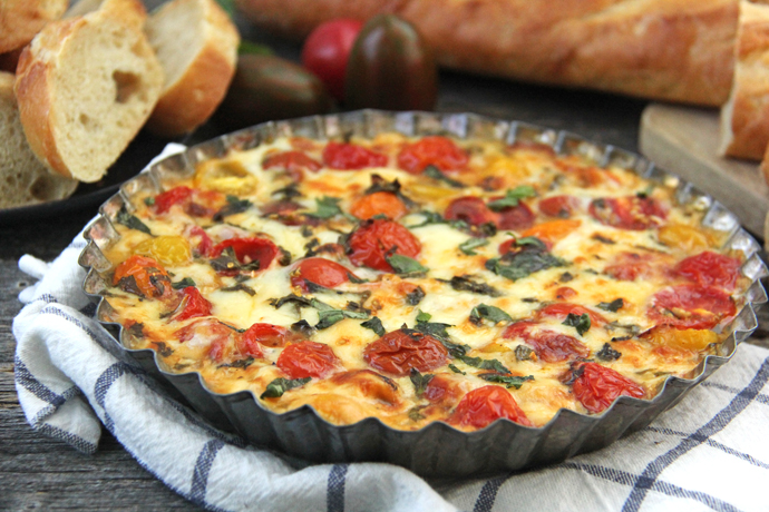 This Roasted Tomato, Gouda Cheese & Basil Dip is a perfect late-summer appetizer.