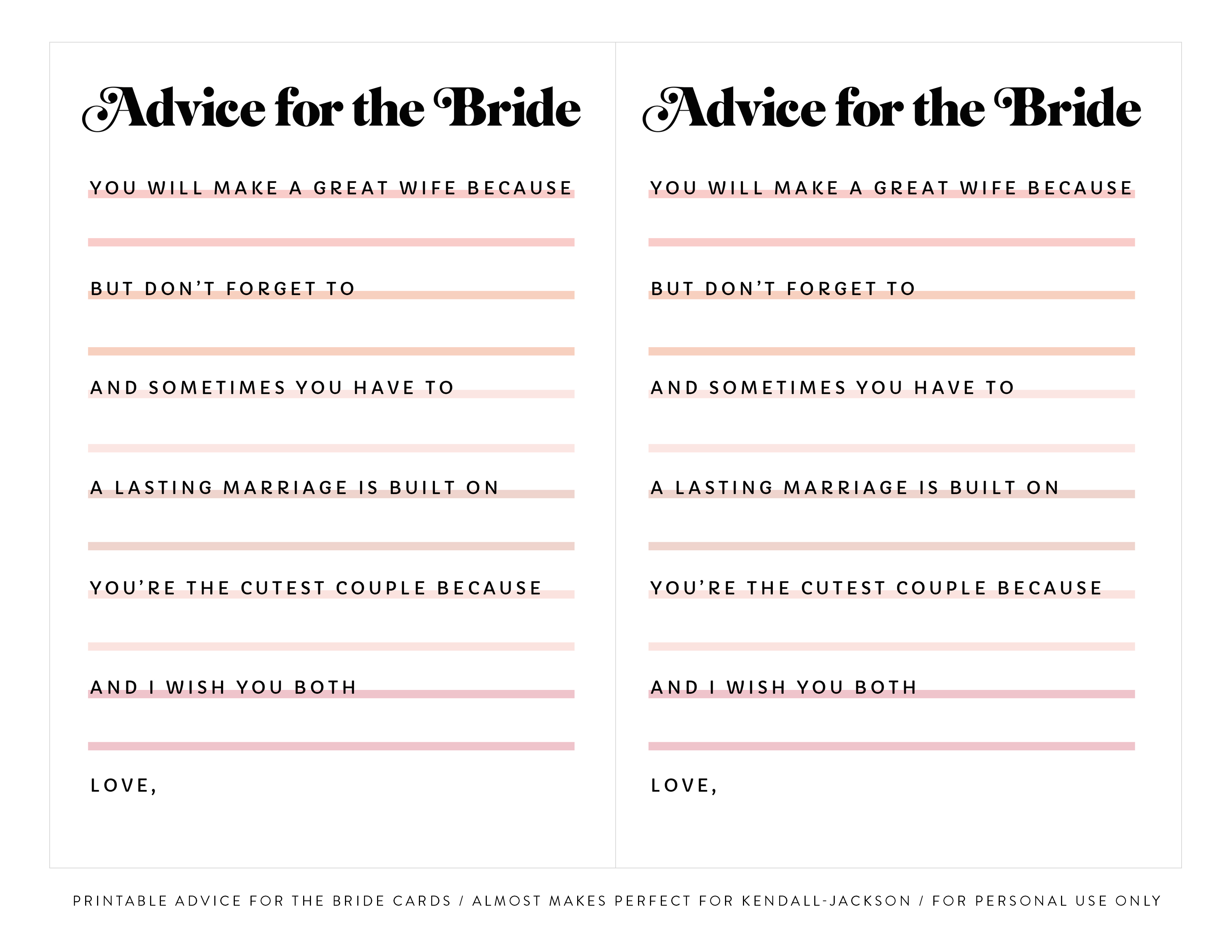 image relating to Bridal Shower Mad Libs Free Printable titled Printable \u201cAdvice for the Bride\u201d Bridal Shower Playing cards