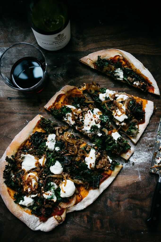 Try making this simple and sophisticated recipe for Kale, Ricotta and Caramelized Onion Pizza at home for a casual game night with friends or date night in with a loved one. Pair it with some Kendall-Jackson Grand Reserve Pinot Noir wine and you've got the recipe for a perfect night in.