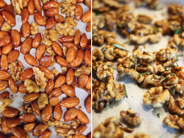 Rosemary Balsamic Walnuts, Maple Cinnamon Walnuts and Spicy Walnuts.