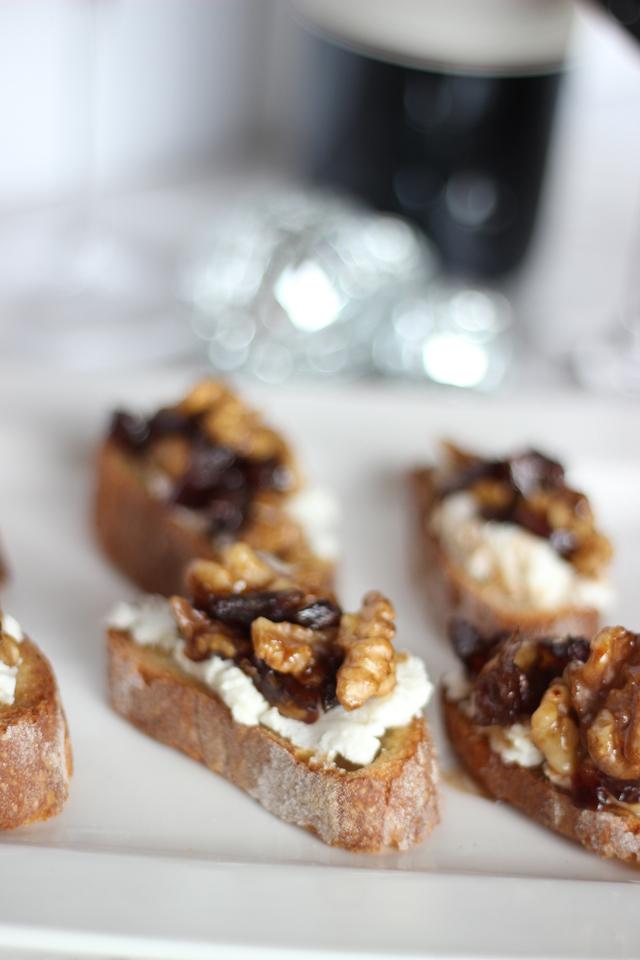 Date & Walnut Goat Cheese Crostini