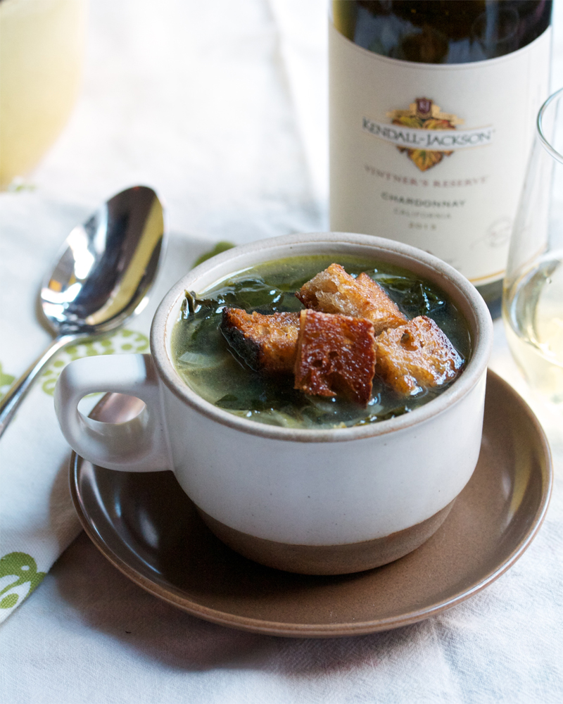 Caramelized Onion and Kale Soup