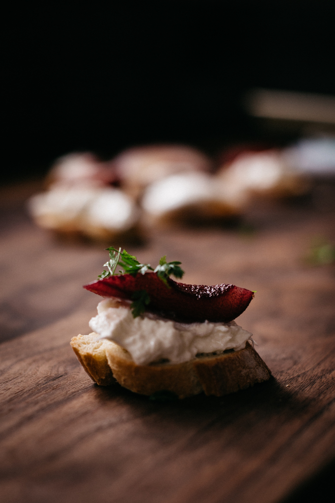 Pinot Noir Poached Pears & Burrata Crostini from Kendall Jackson