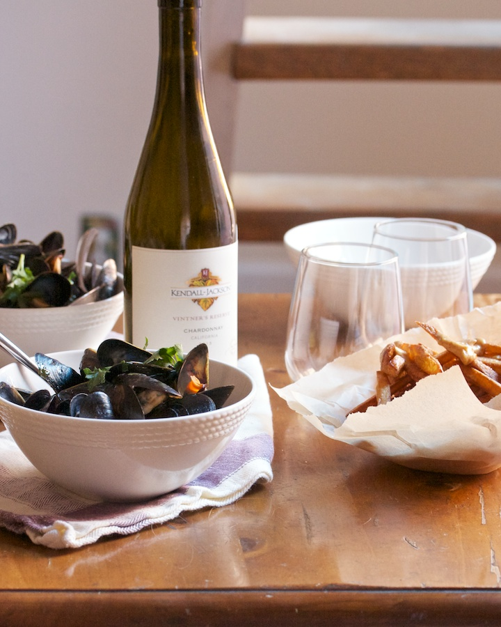 Moules-Frites with Kendall-Jackson Vintner's Reserve Chardonnay wine is the perfect stay-at-home Valentine's Day dish for you and that special someone. #recipe
