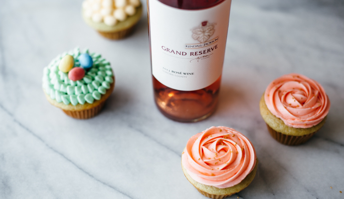 These cupcakes are jazzed up with a bit of Kendall-Jackson Grand Reserve Rosé in both the cake and the frosting, making for a double-the-fun, sophisticated, little cake that's fit for any springtime celebration. #recipe