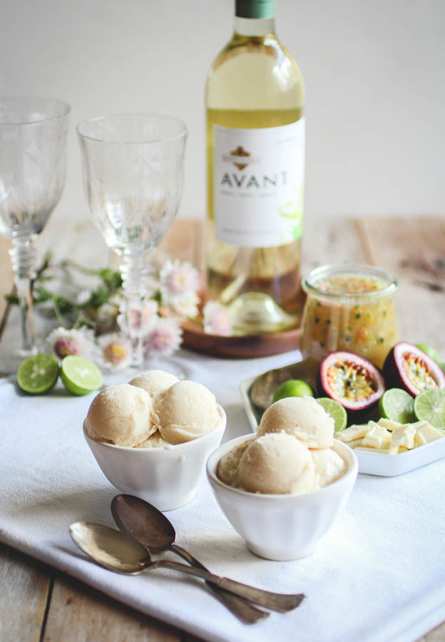 When generously spooned over the white chocolate sorbet the resulting dessert is a tantalizing contrast of tart, sweet and cool creaminess. It's perfect for welcoming spring, but so delicious that I have a feeling it's going to remain a staple in my house through end of summer. #KJAVANT