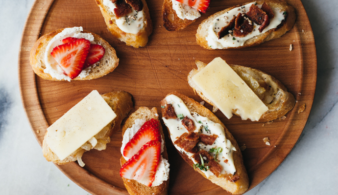 Crostini can be made quickly and with whatever ingredients you have on hand. A great crostini starts with bread that's been toasted and sprinkled with salt. The toppings can be as simple as a spread of cheese or some jam, but you want more than that, right? Right. So here some of my favorite crostini topping combinations to get you inspired. #spring