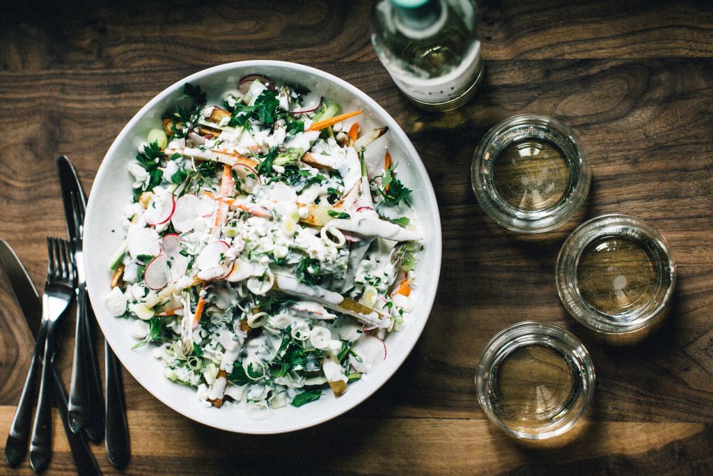 This Spring Vegetable Poutine recipe is a lighter, healthier spin on the beloved Canadian dish to pair with the zippy K-J AVANT Sauvignon Blanc.