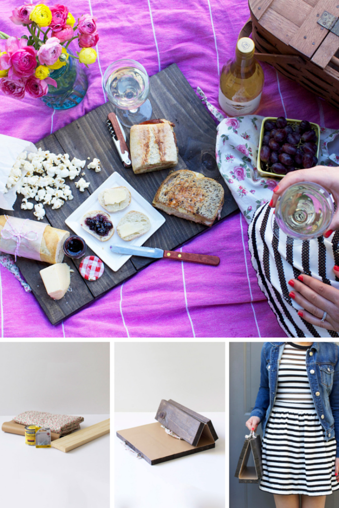 My biggest pet peeve on picnics is when there is no hard surface to set your drinks down or cut bread on. This project solves that problem stylishly ... and it folds up so it'll easily fit in a picnic basket, or be carried by it's handles. Best of all, this is a really quick and simple DIY project, so you totally have time to make it by Mother's Day. #DIY