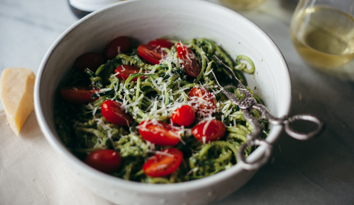 Pesto is one of my favorite things to make during the summer and it goes so well with fresh tomatoes, a heavy dose of parmesan and some crisp Kendall-Jackson AVANT Chardonnay. It's so easy to make ahead of time for a party, and if you'd like to make it a meal, top it with grilled chicken, steak, or any other tasty protein!