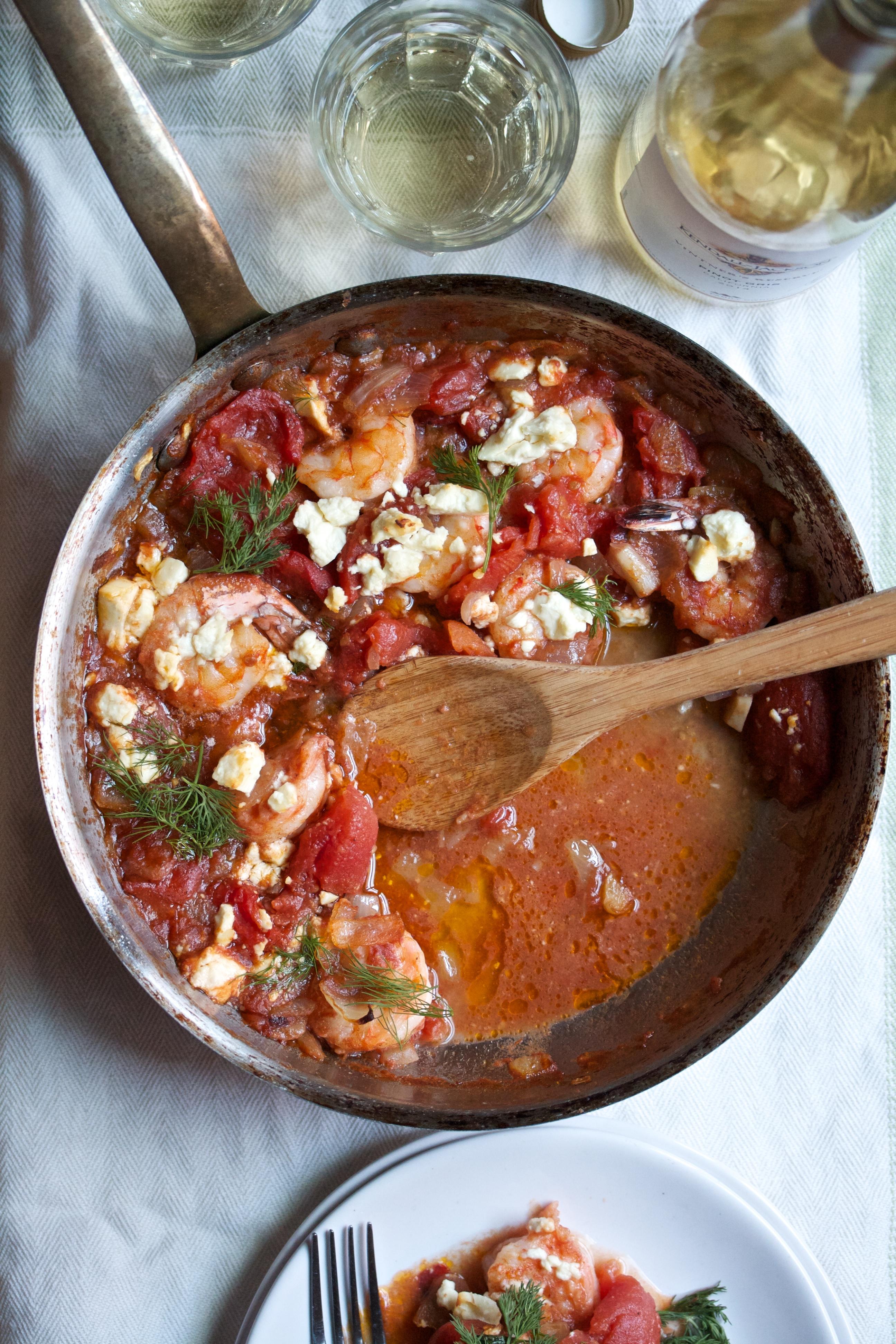 Roasted Shrimp with Tomatoes, Olives & Feta