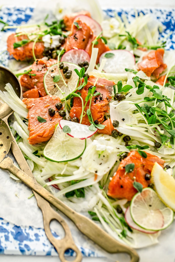 As long as you have some super fresh wild salmon and a few fresh ingredients you can whip this salad in less time that it takes you to get dressed for the pool. #recipe