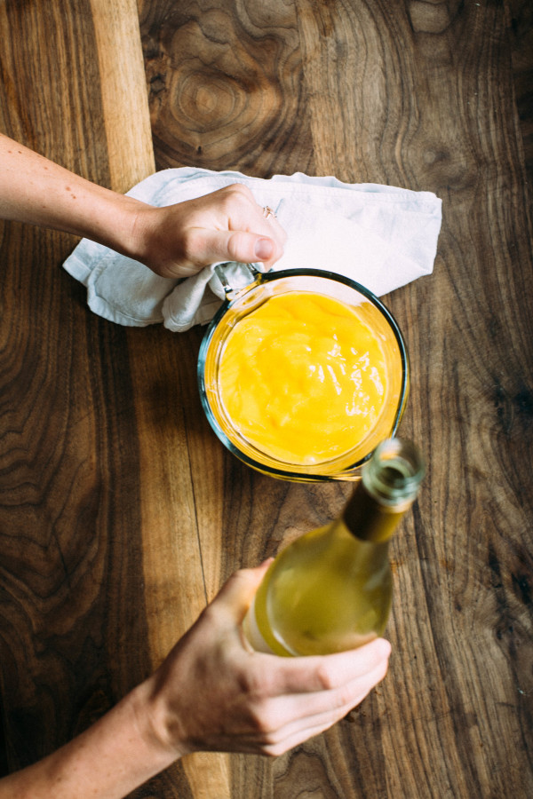 This recipe is my official summer hack of 2015. Why? Just four ingredients and an ice cream maker will have friends and neighbors lining up for a heat-busting sweet (and boozy) treat when the temperature hits triple digits. I love pairing mango with the dry, piquant Kendall-Jackson Pinot Gris because it lends a balancing note to the musky, sweet flavor of the fruit.