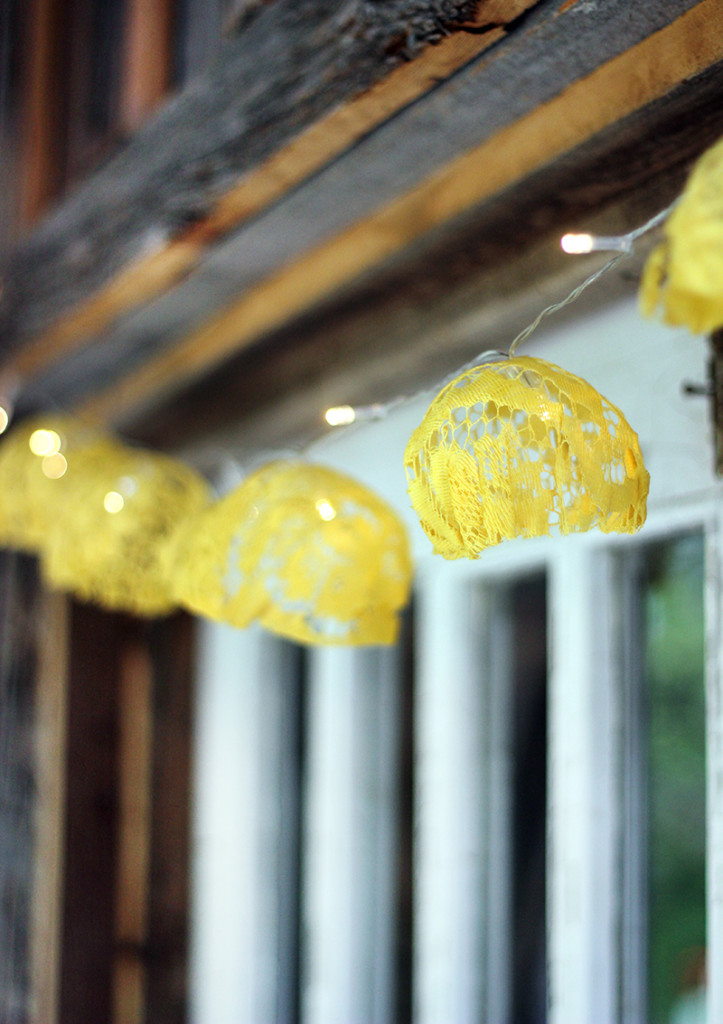 These #DIY Lace String Lights are a great way to repurpose some dated fabric and adds the perfect feminine touch to your space or event.