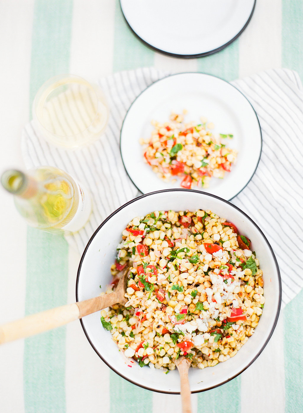 Pair this delicious charred corn salad #recipe with some Kendall-Jackson Vintner's Reserve Pinot Gris for the ultimate summer palette. No joke, it's like they were meant to be together. The sweetness from the corn brings out the flavors in the wine and BOOM, game over!