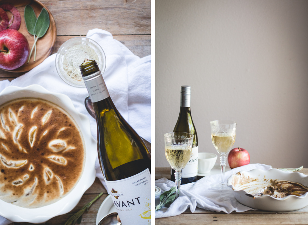 This Bourbon & Spiced Apple Gratin dessert wouldn't be complete unless served alongside a cold glass of K-J AVANT Chardonnay.