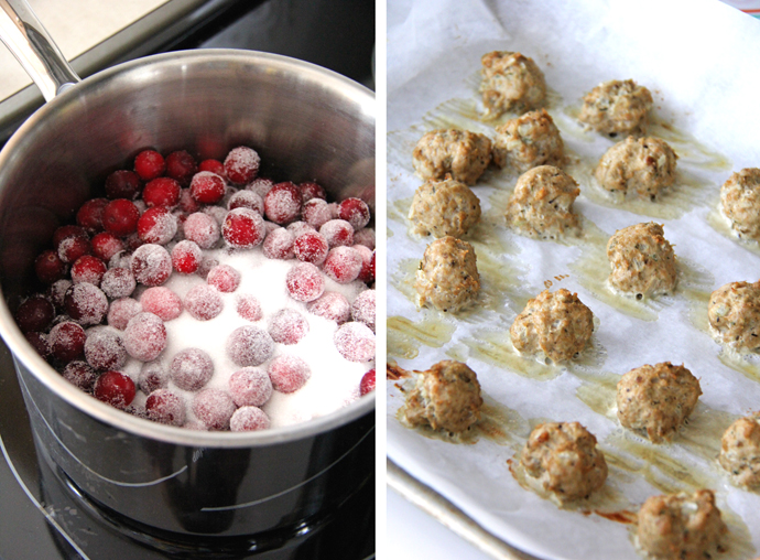 These Turkey Appetizer Meatballs with Cranberry Glaze taste like a turkey dinner wrapped up in a little ball of deliciousness!  The meatballs are savory with flavors of sage and thyme, and the cranberry glaze is sweet and sour, making the pairing perfect. #recipe