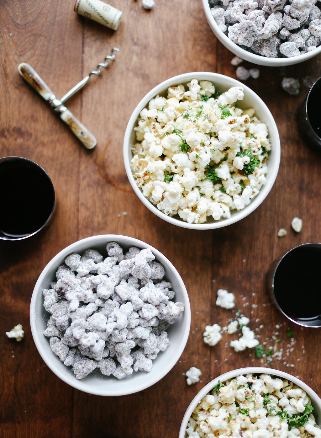 Two fantastic variations of classic popcorn - Parmesan & Parsley and Puppy Chow! #recipe