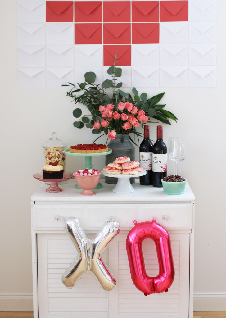 This year, skip the restaurant crowds and put together a Valentine's Day dessert table to surprise him when he walks in the door. #DIY
