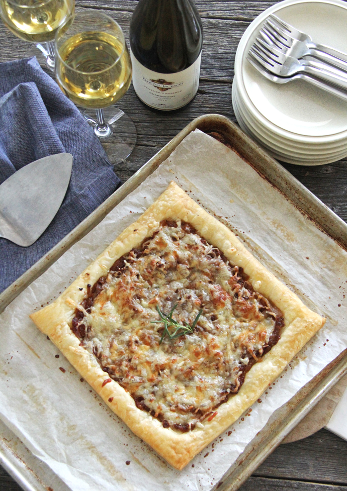This Caramelized Onion and Gruyere Cheese Tart is very easy to make, so don't be scared to make it yourself!  The hardest part about making this recipe is cooking the onions, so really, it's the easiest recipe ever!