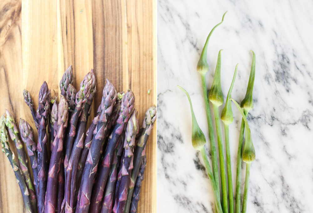 Asparagus spears with garlic scapes