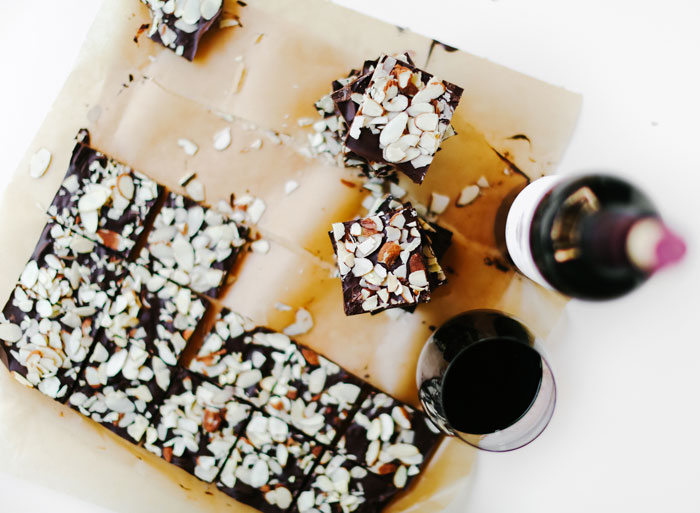 The Cabernet Sauvignon's notes of black cherry and vanilla pair so well with the nutty flavors in the chocolate almond bark, it's like magic.