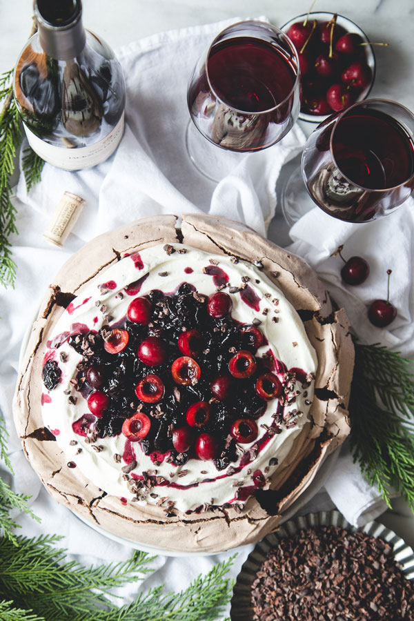 This Chocolate Pavlova with Amaretto Cherry Compote & Cocoa Nibs is no ordinary pavlova — we're adding a wintery twist to this classic dessert.