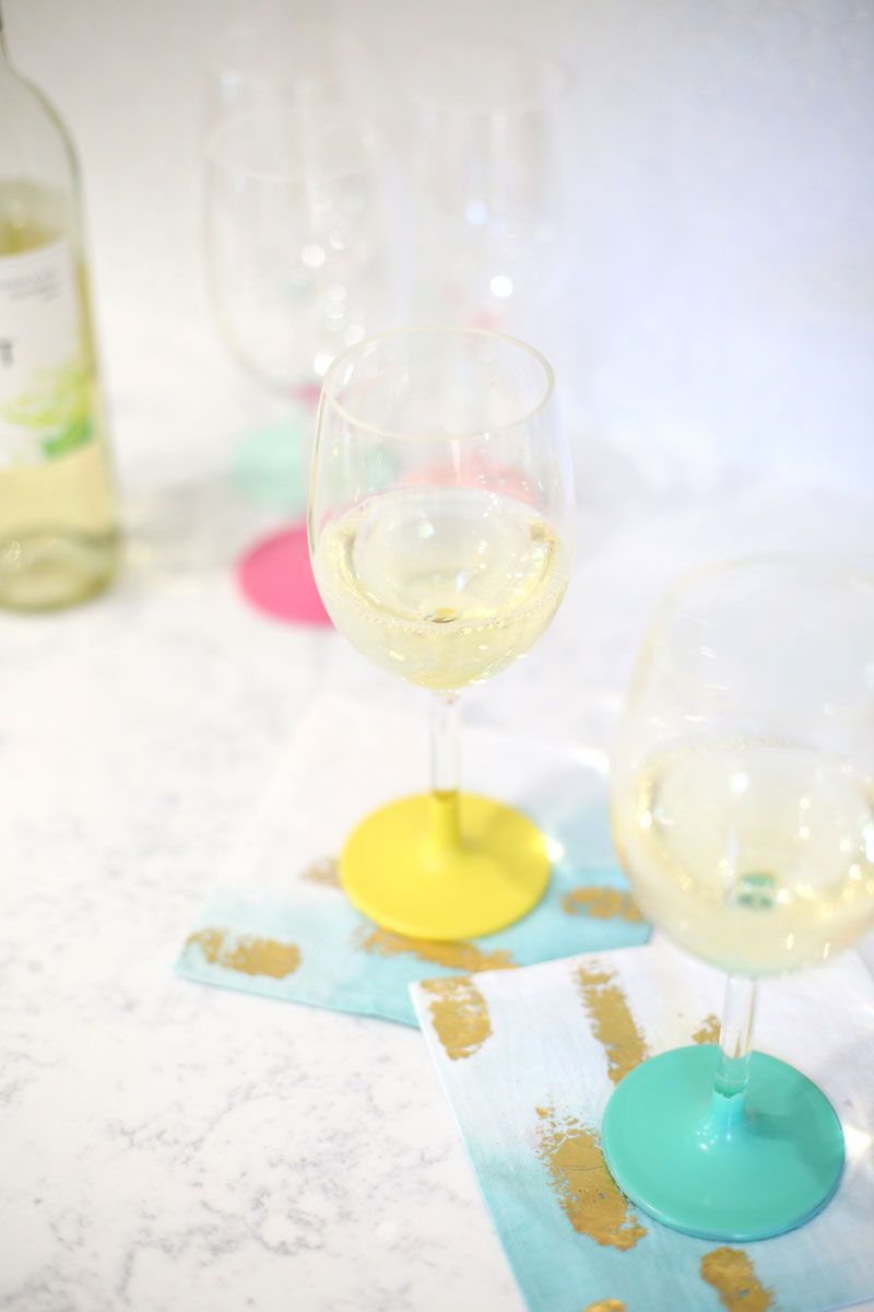 These DIY Color-Dipped Wine Glasses are a colorful, simple way for everyone to keep track of their glasses.