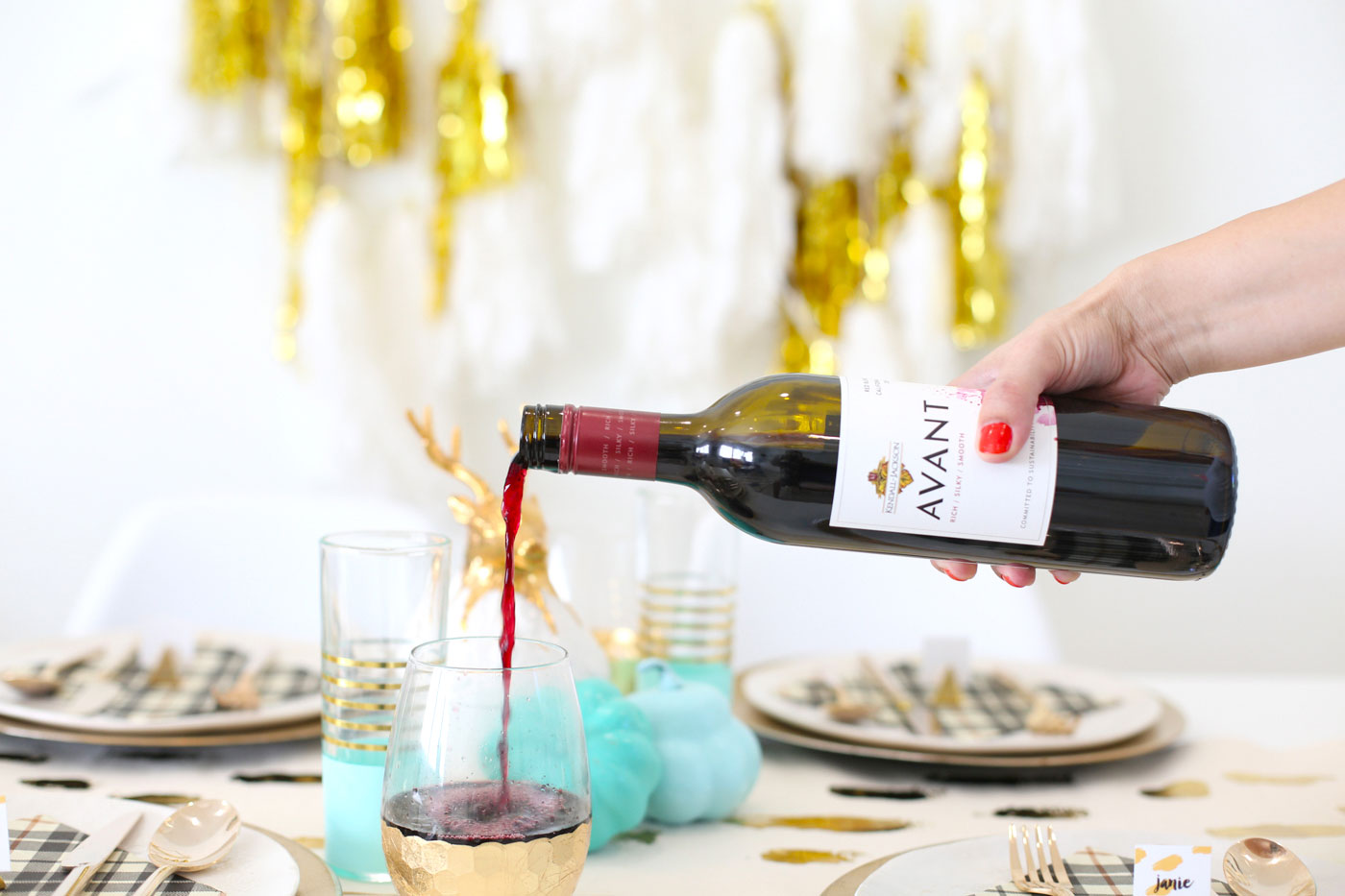 Pour the Kendall-Jackson AVANT Red Blend wine.