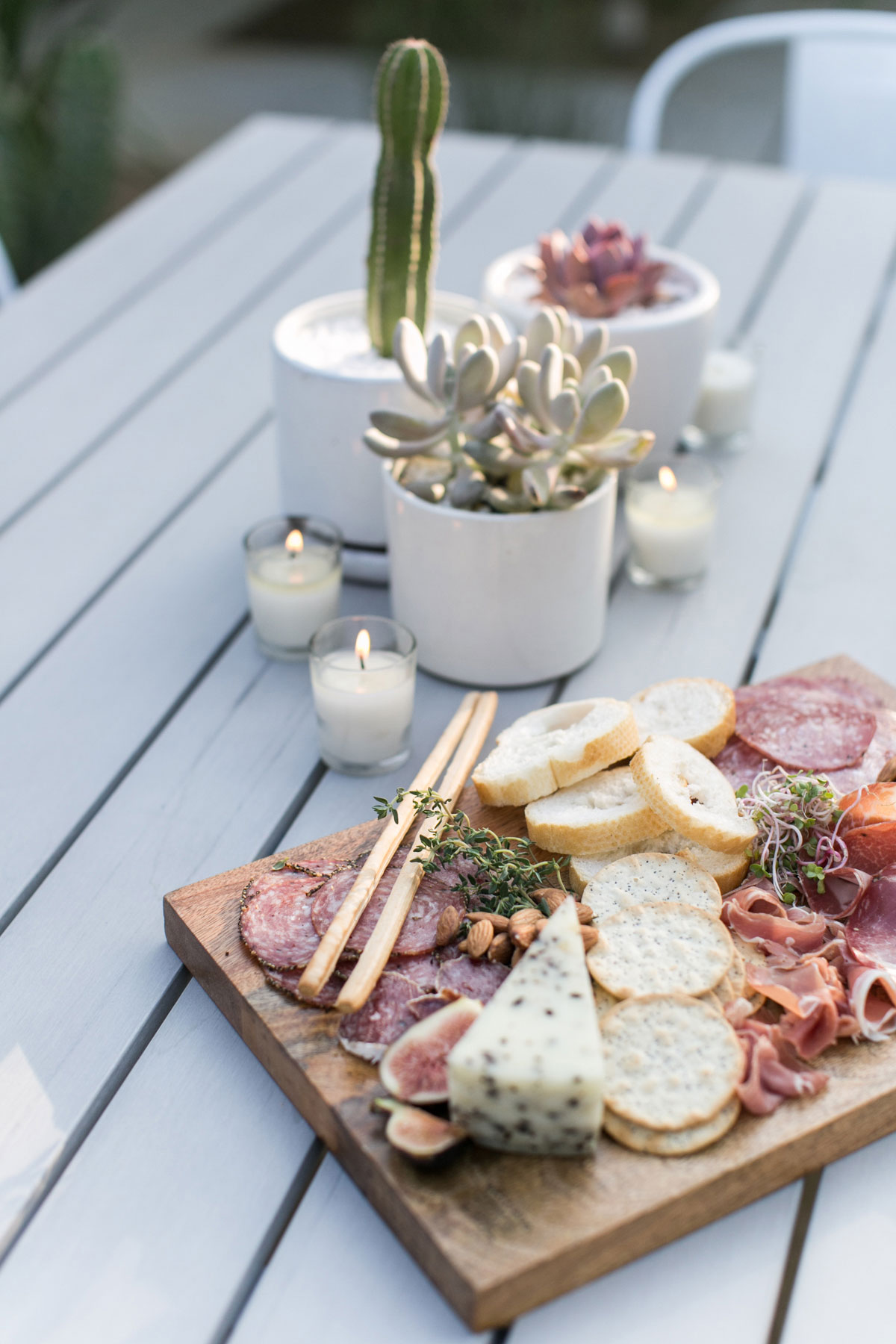 Wine and cheese and charcuterie board with Kendall-Jackson AVANT Sauvignon Blanc.