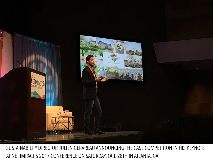 Sustainability Director Julien Gervreau announcing the case competition in his keynote at Net Impact's 2017 Conference on Saturday, Oct. 28th in Atlanta, GA.