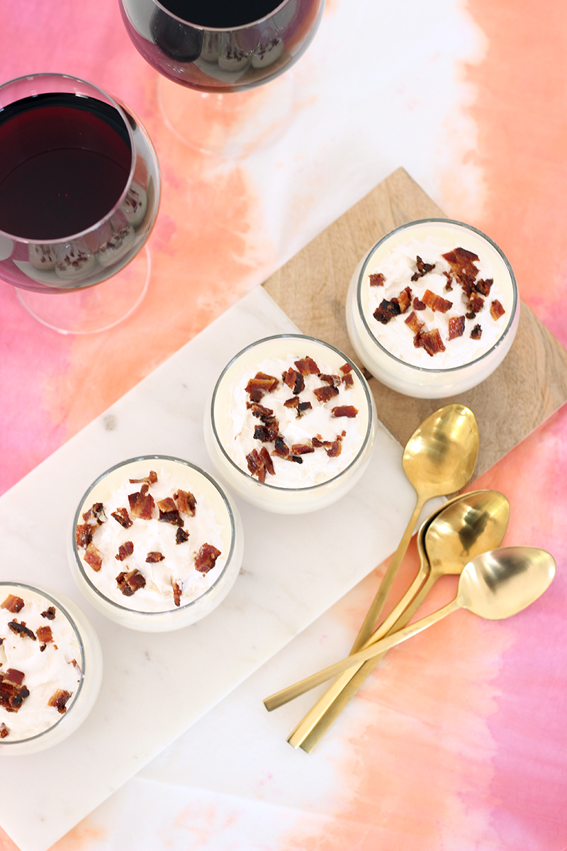 It's pretty safe to say that any recipe involving bacon will be a hit and this is no exception. These no bake maple bacon cheesecake cups are a quick and easy dessert to whip up whenever you have guests over.