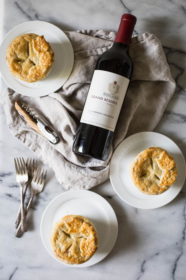 Pot pies with rosemary golden crust and Kendall-Jackson Grand Reserve Cabernet Sauvignon.
