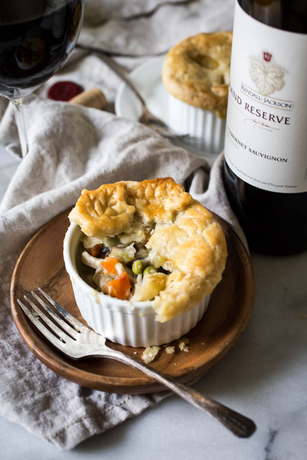 Chicken pot pie with hearty, slow-cooked fillings and bottle of Kendall-Jackson Grand Reserve Cabernet Sauvignon
