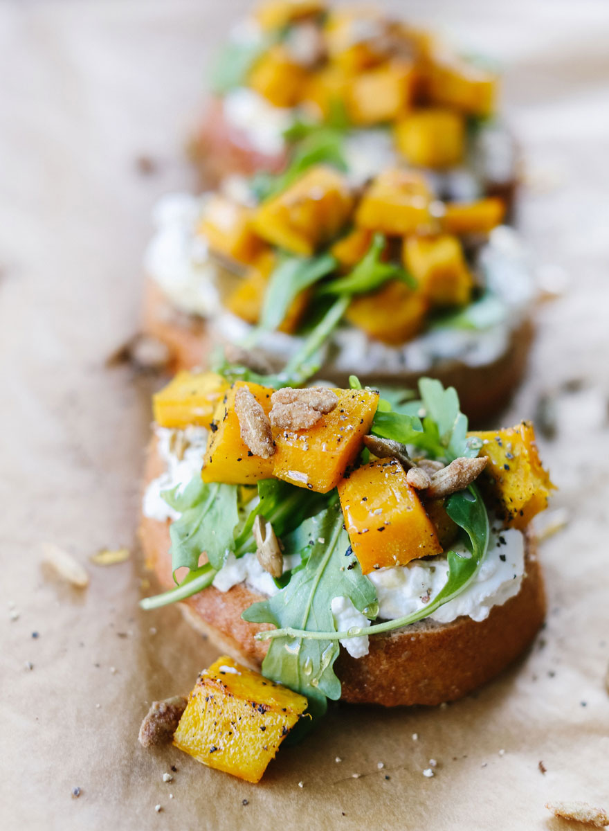 Pumpkin, Ricotta & Arugula Bruschetta recipe paired with Kendall-Jackson Vintner's Reserve Chardonnay is the perfect fall appetizer combo.