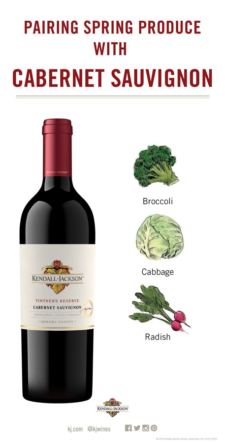 Pairing Wines with Spring fruits and vegetables with Cabernet Sauvignon