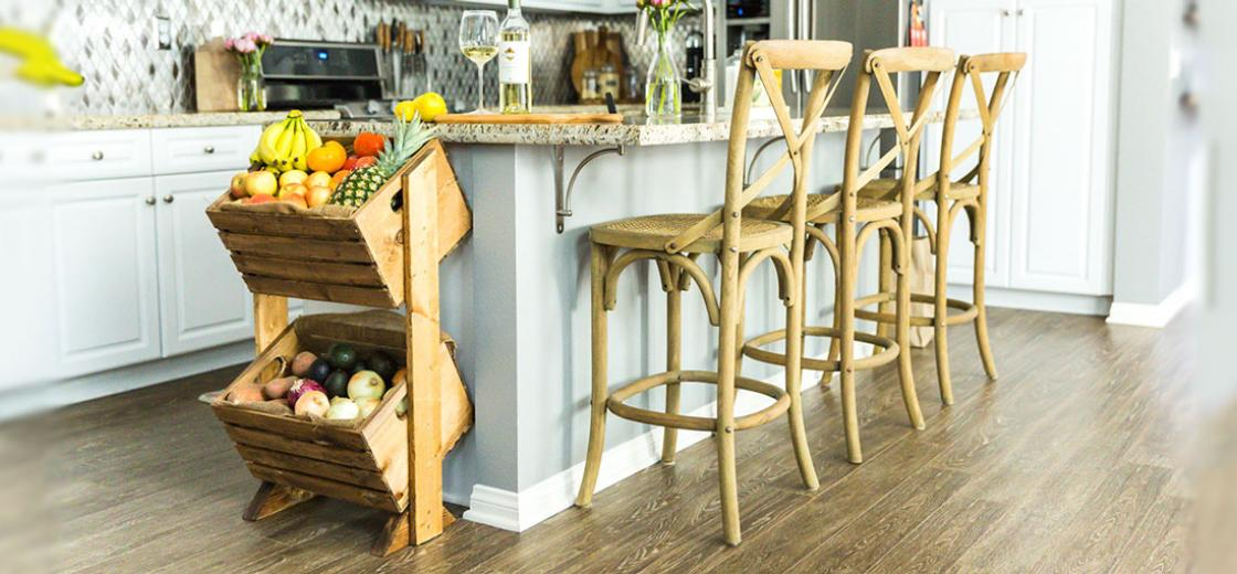 Looking for a fun way to showcase your fruits and vegetables, while saving counter space? Try building this DIY two-tier produce stand to give all your fruits and vegetables a functional, stylish home right in your kitchen.