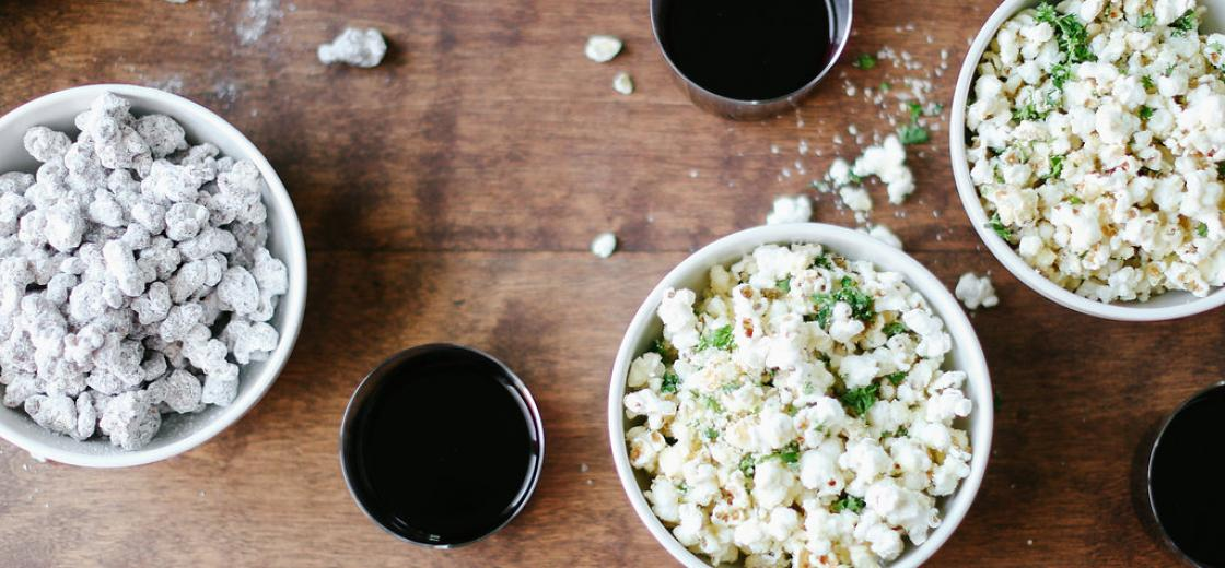 Grab some cute bowls, serve up your delicious popcorn concoctions, and pour some glasses of Kendall-Jackson Vintner's Reserve Merlot. It's full and delicious and whether your guests are fans of the savory popcorn or the puppy chow, the Merlot enriches each experience.