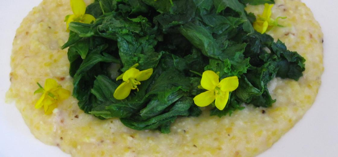 mustard greens and grits