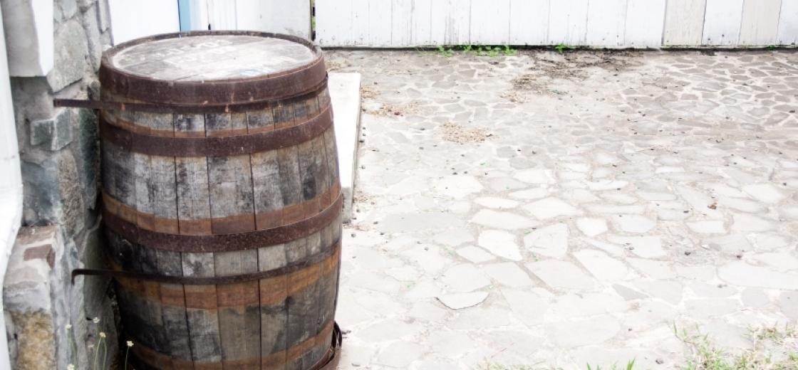 Barrel In Courtyard