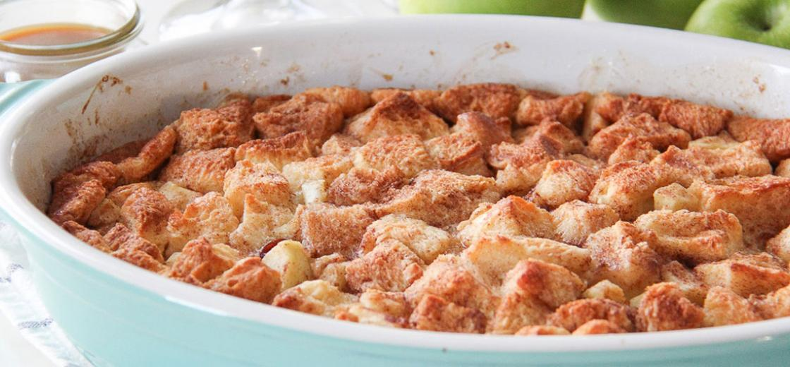Bread puddings are so rich and creamy making them a delicious as a stand alone dish, but adding tart apples to the mix takes this Apple Bread Pudding with Caramel Sauce recipe to the next level.